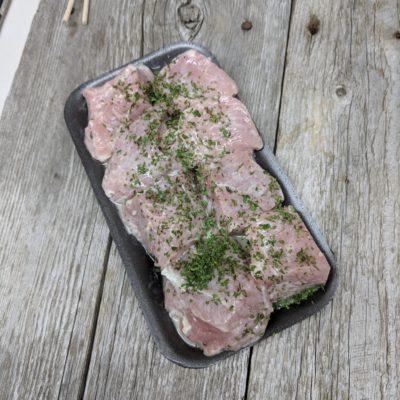 Cubes à brochette de porc à la grecque