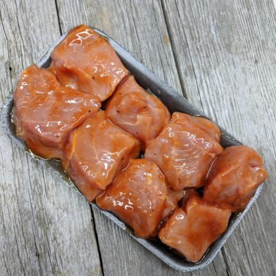 Cubes à brochette de porc bbq